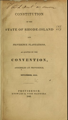Download Constitution of the State of Rhode-Island and Providence Plantations