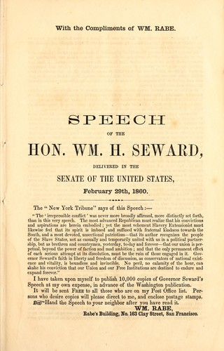 Speech of the Hon. Wm. H. Seward by William Henry Seward