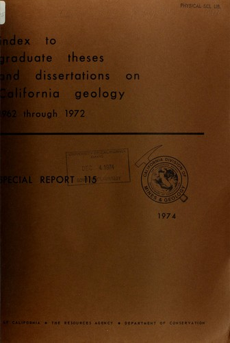 Index to graduate theses and dissertations on California geology, 1962 through 1972 by Gary Charles Taylor
